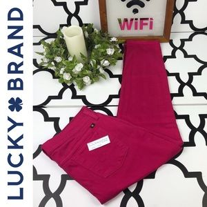 Lucky Brand Zoe Straight Pink Crop Jeans